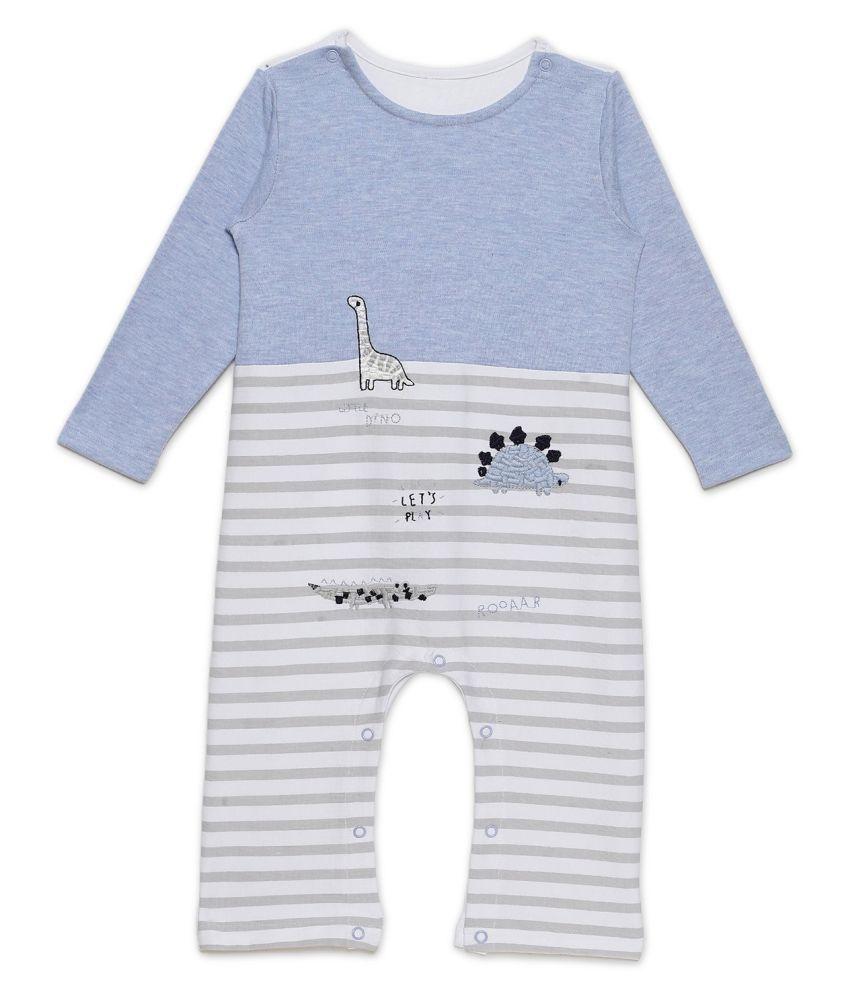 Rabbit Pocket Cotton Long Sleeve Fancy Jumpsuit Bodysuit Sleep Suit DenimBlue For New Born Boys and Girls Unisex Single Pack 9 to 12 Months