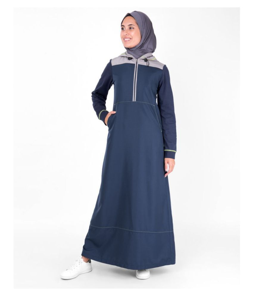 Silk Route London Blue Polyester Stitched Burqas without Hijab