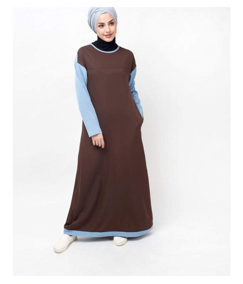Silk Route London Brown Polyester Stitched Burqas without Hijab