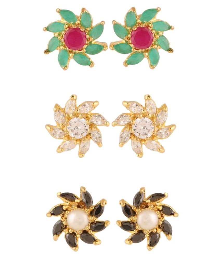 Archi Collection Multicolour Stud Earring - Pack of 3