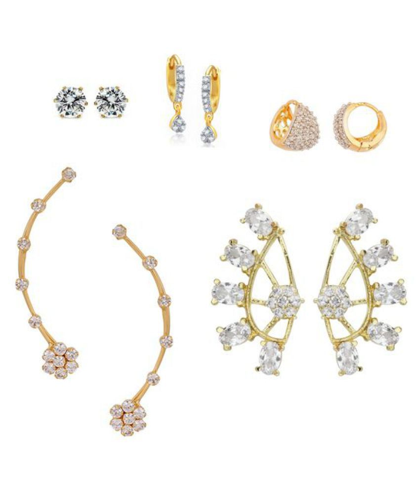 Archi Collection White Style Diva American Diamond Clip back Earrings - Set of 5