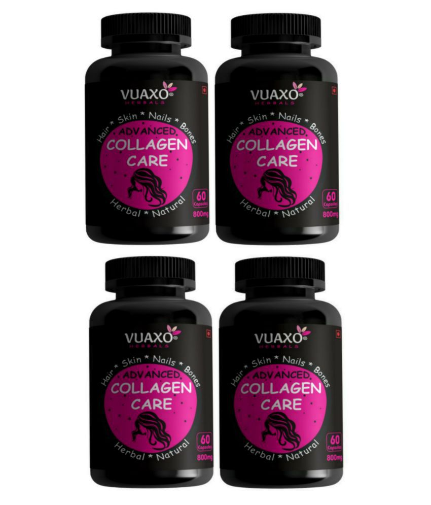 vuaxo Advanced Collagen Care Hair Skin Nails Joint Bones Capsule 240 no.s Pack of 4