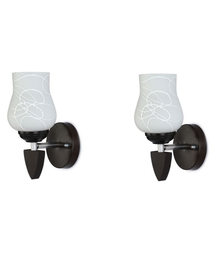 AFAST Decorative Wall Lamp Light Glass Wall Light White - Pack of 2