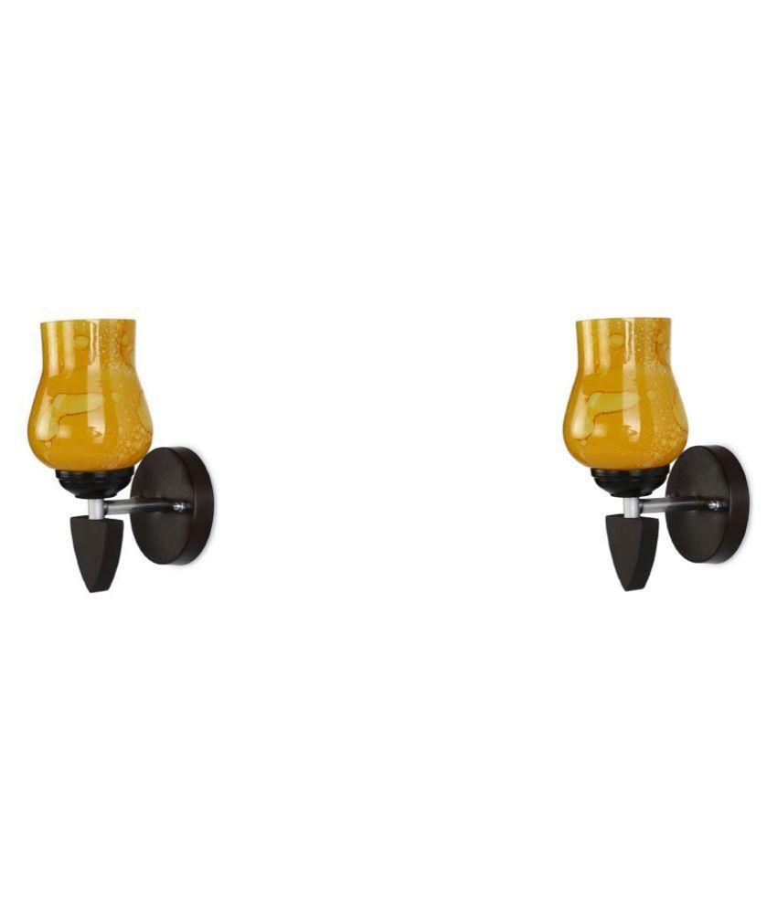 AFAST Decorative Wall Lamp Light Glass Wall Light Yellow - Pack of 2