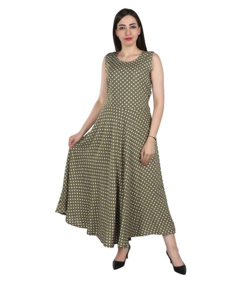 SRINIVASA VASTRAM CORPORATION Rayon Multi Color Fit And Flare Dress