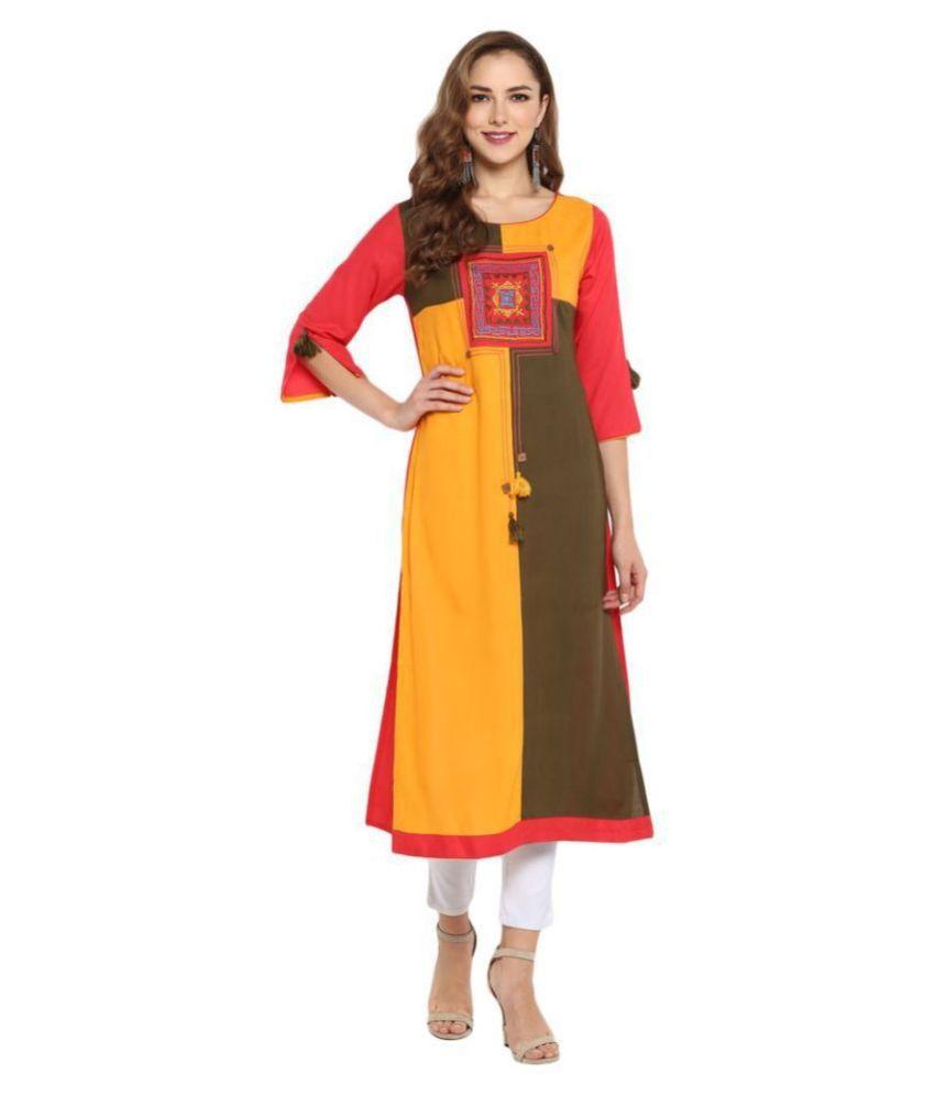 Janasya Multicoloured Rayon Straight Kurti