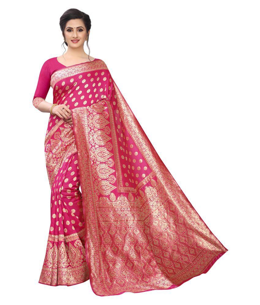 maruti art Pink Jacquard Saree