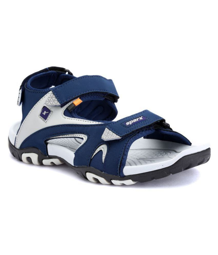 Sparx Blue Faux Leather Floater Sandals