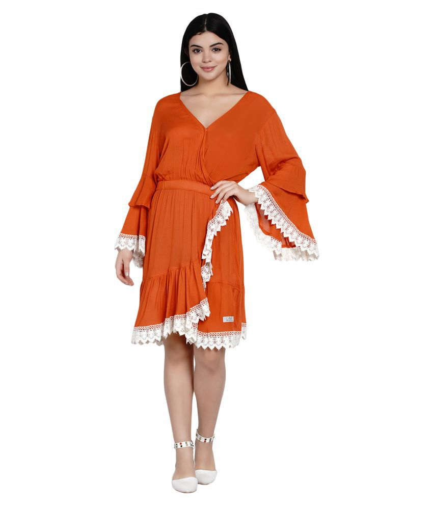 ELISE MODA Crepe Rust Fit And Flare Dress