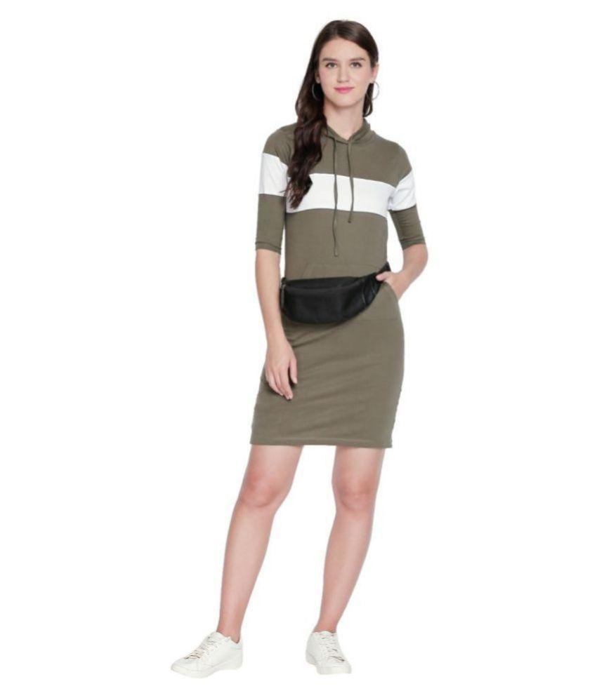 Jhankhi Cotton Green T-shirt Dress