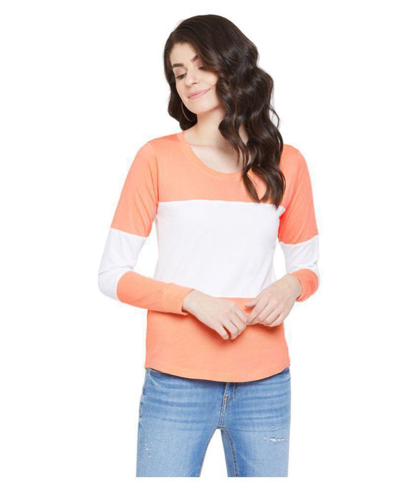 Jhankhi Cotton Orange T-Shirts