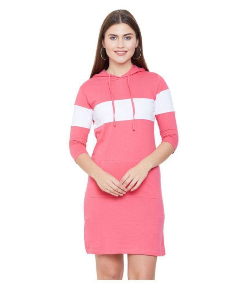 Jhankhi Cotton Pink Bodycon Dress