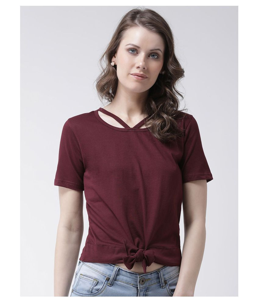 The Dry State Cotton Maroon T-Shirts