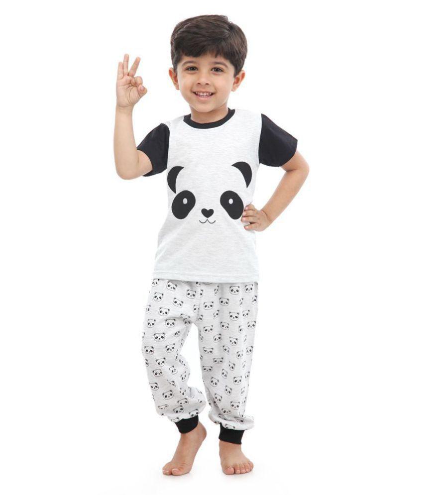 Nite Flite Boys Panda Print Cotton Pj set