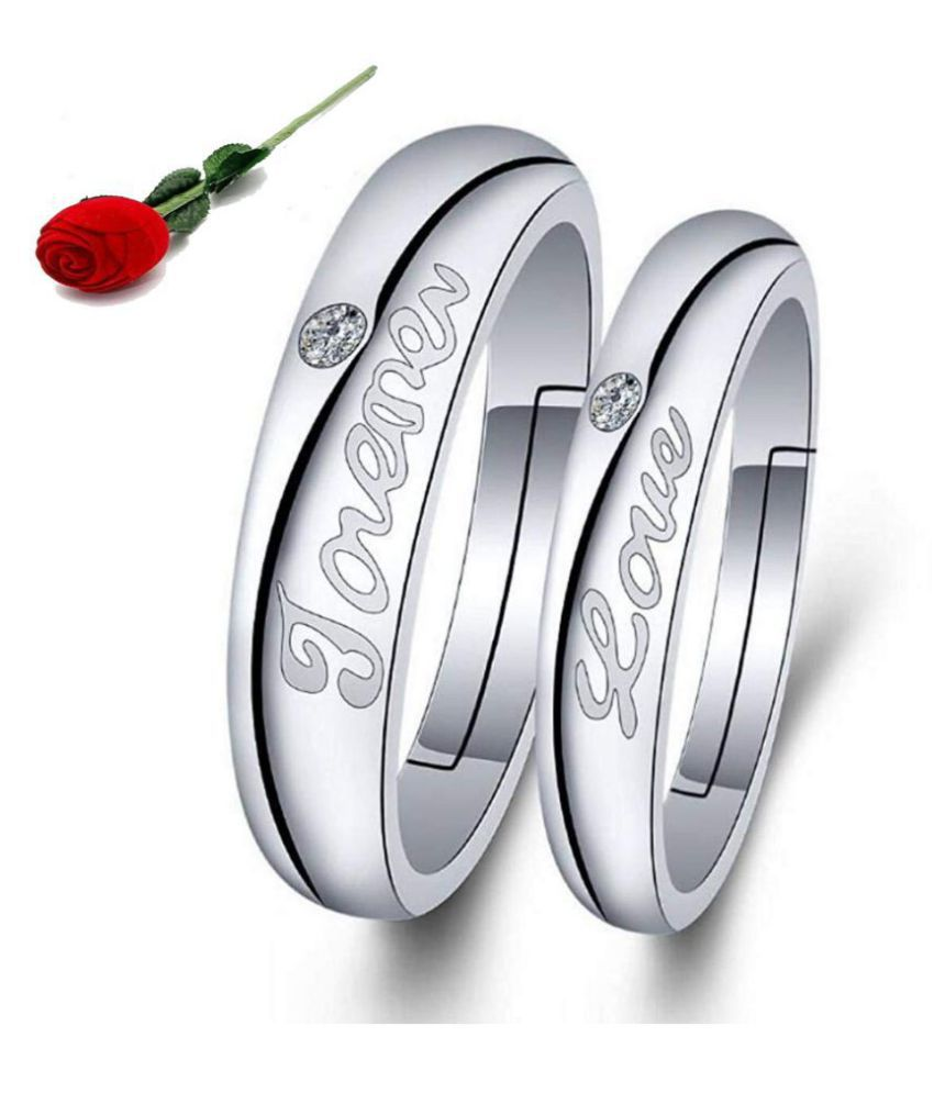 Stylish Teens Mad in Love Exclusive Silver Plated Adjustable Couple Solitaire Rings with Rose Box Packing