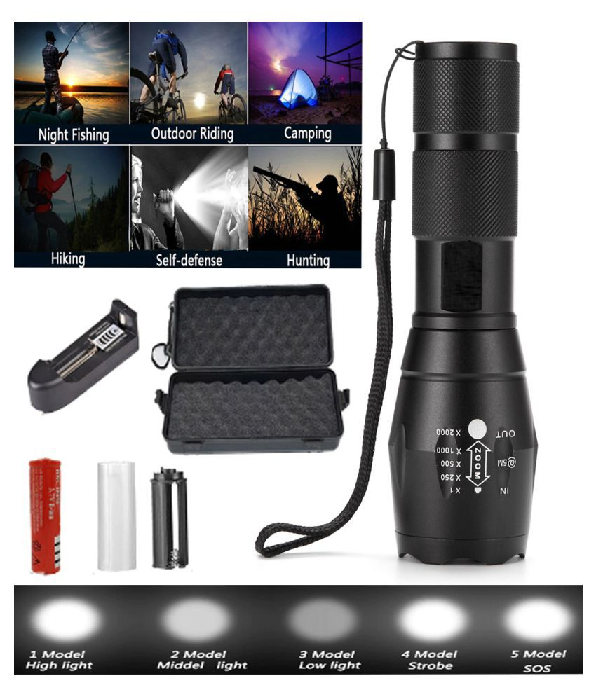 UC Zoomable flashlight high power torch 14W Flashlight Torch - Pack of 1