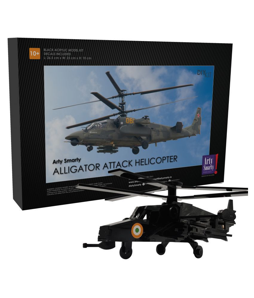 Arty Smarty Alligator Attack Helicopter | DIY Model Airplane | Perfect to Display at Home | Ideal for Aeronautical & Military Enthusiasts