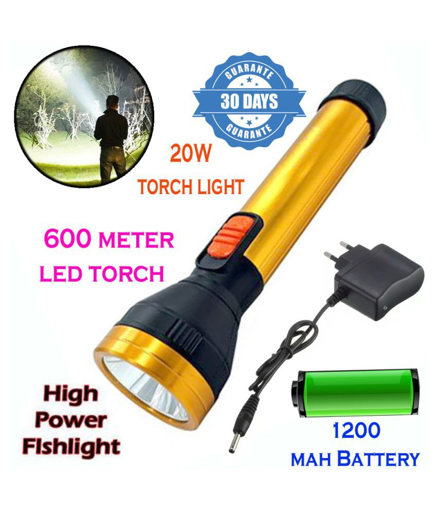 New 600mtr Rechargeable LED  Long Beam Metal Torch 20W Flashlight Torch Long Beam MetalTorch - Pack of 1