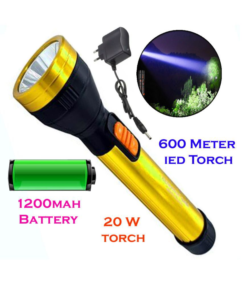 New 600mtr Rechargeable LED Waterproof Long Beam Metal 20W Flashlight  Torch 20W Flashlight Torch Long Range 2 Mode - Pack of 1
