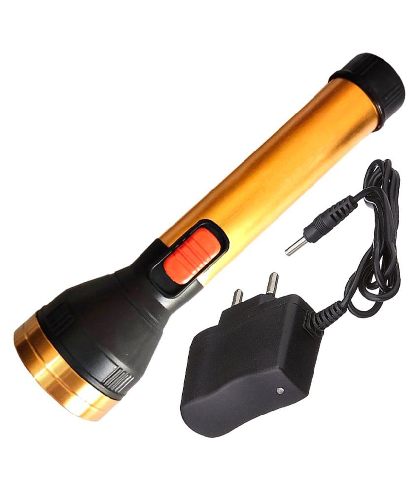 New 600mtr Rechargeable LED Waterproof Long Beam Torch 20W Flashlight Torch 2 Mode  Metal Torch - Pack of 1