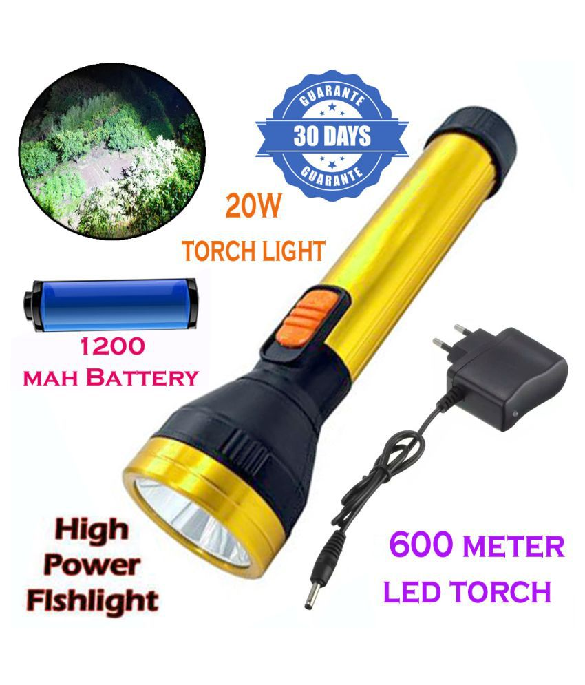 New 600mtr Rechargeable LED Waterproof Long Beam Metal Torch 20W Flashlight 20W Flashlight Torch Long Range 2 Mode - Pack of 1