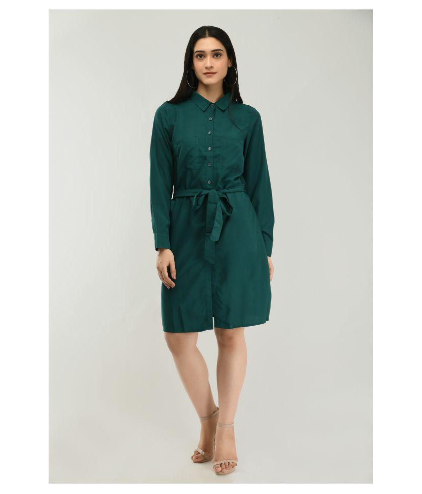 Ruby Creation Crepe Green Shirt Dress