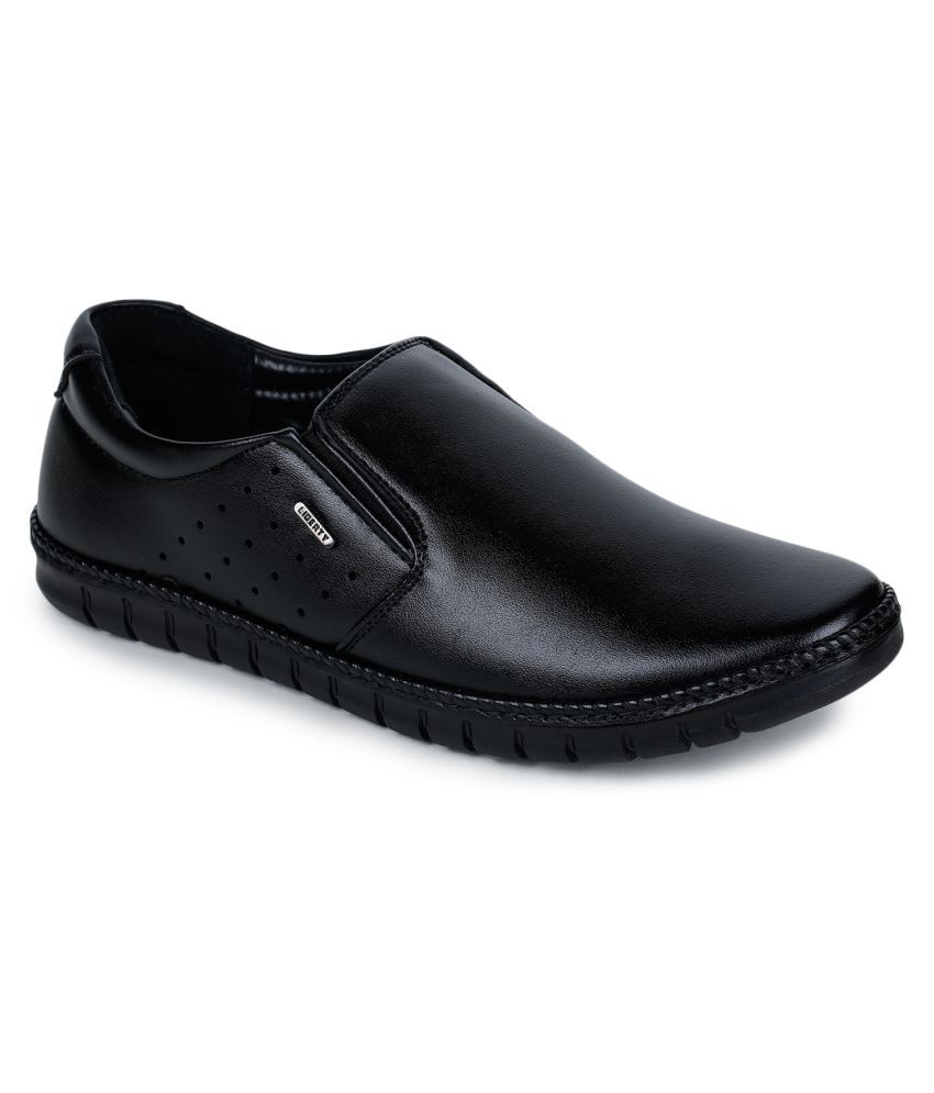 Liberty Slip On Artificial Leather Black Formal Shoes