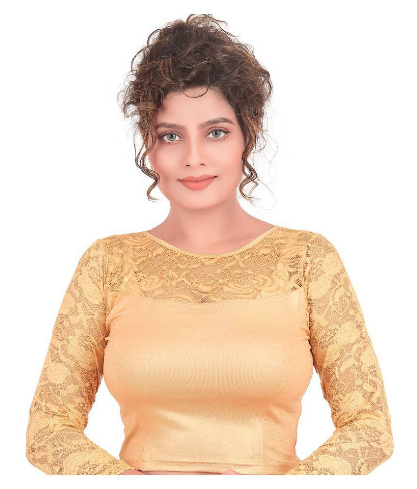 Atulya Designer Blouse Gold Shimmer Readymade without Pad Blouse