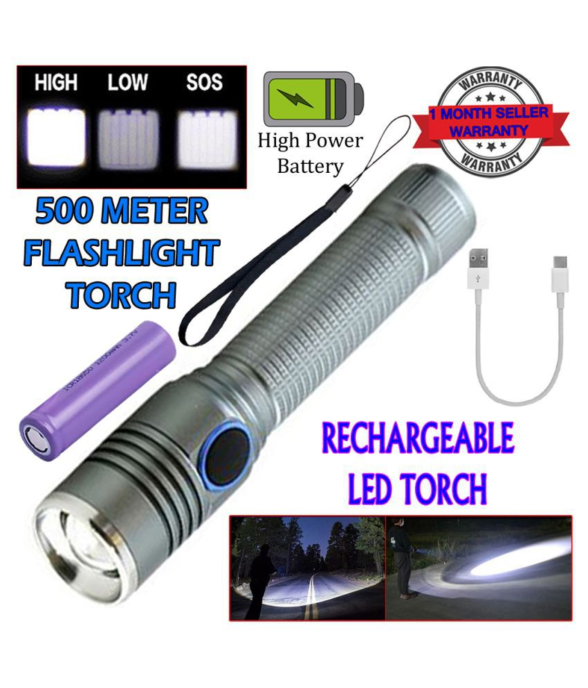 New 9W Flashlight Torch 400 meter USB Torch - Pack of 1