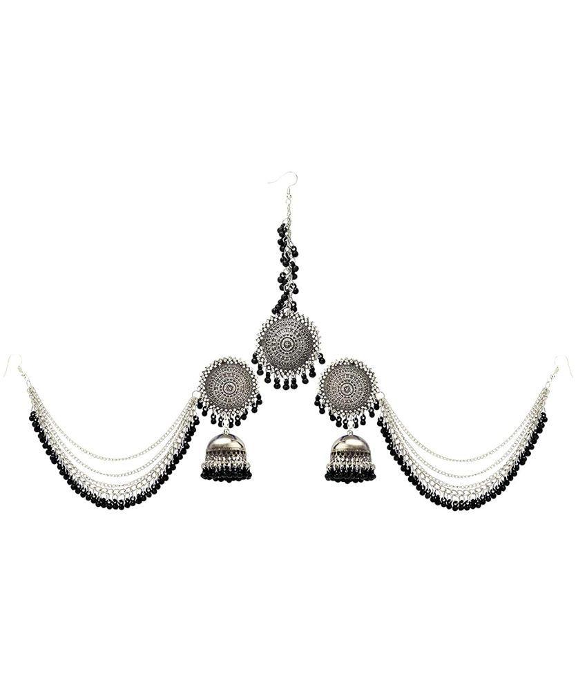 Bahubali Earrings For Women Stylish Jewellery Earrings Afghani Kashmiri Tribal Jhumka Earrings And Maang Tikka Set Fancy Party Wear Earrings For Girls And Women
