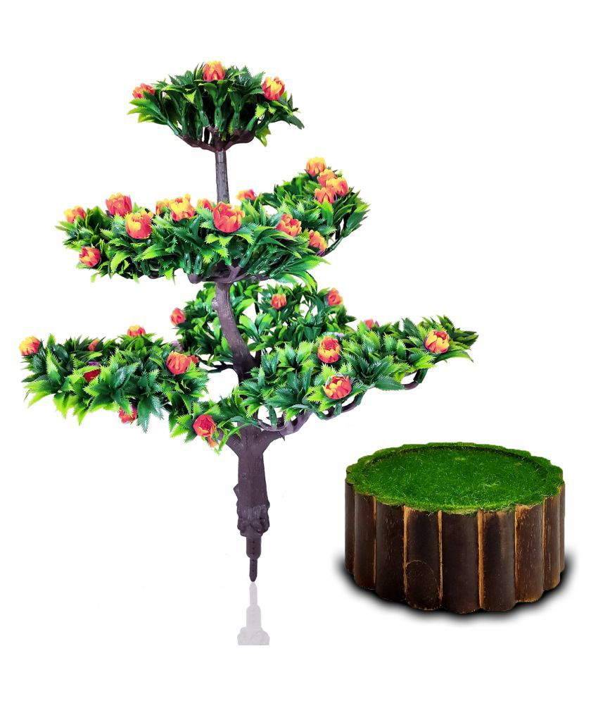 fns store Orange Tulip Bonsai with Round Pipe Pot Orange Greens With Pot Plastic - Pack of 2