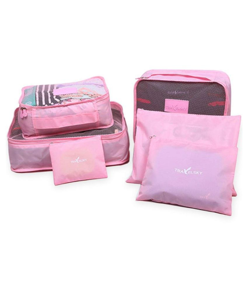 TecMac Travelsky (6 Pcs) Lightweight Square Foldable, Travel Home Luggage Storage Bags, Laundry Pouch, Portable Travel Organiser- Pink