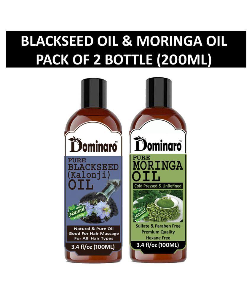 Dominaro 100% Pure Blackseed Oil Moringa Oil 200 mL Pack of 2