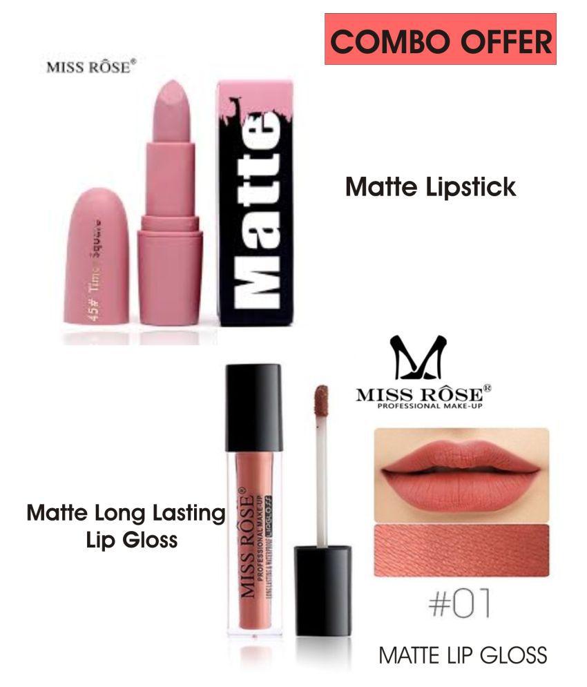 Miss Rose Lipstick & Lipgloss Combo 7301-26 (45) Liquid Lipstick Coral Pink Multi Pack of 2 50 g