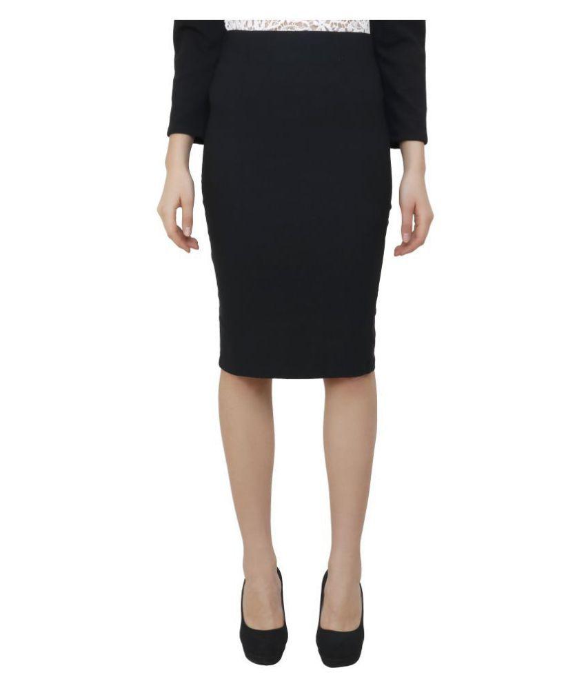 Aadrika Cotton Lycra Pencil Skirt - Black