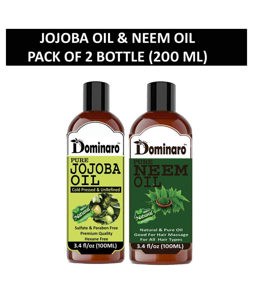 Dominaro 100% Pure Jojoba Oil Neem Oil 200 mL Pack of 2
