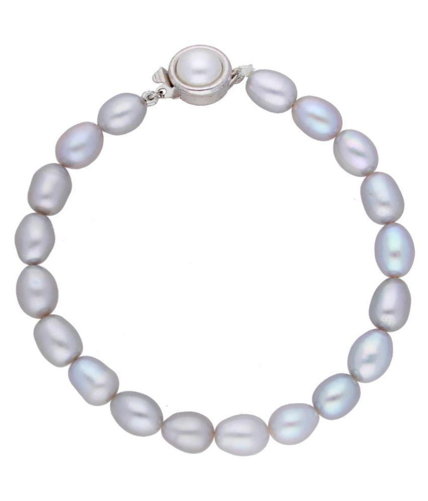 Grey Oval Pearl Bracelet
