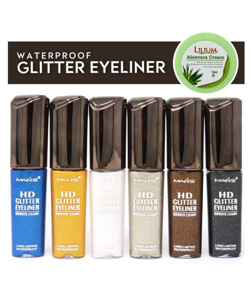 Mars HD Glitter Smooth Finish Liquid Eyeliner Silver Pack of 6 10 mL