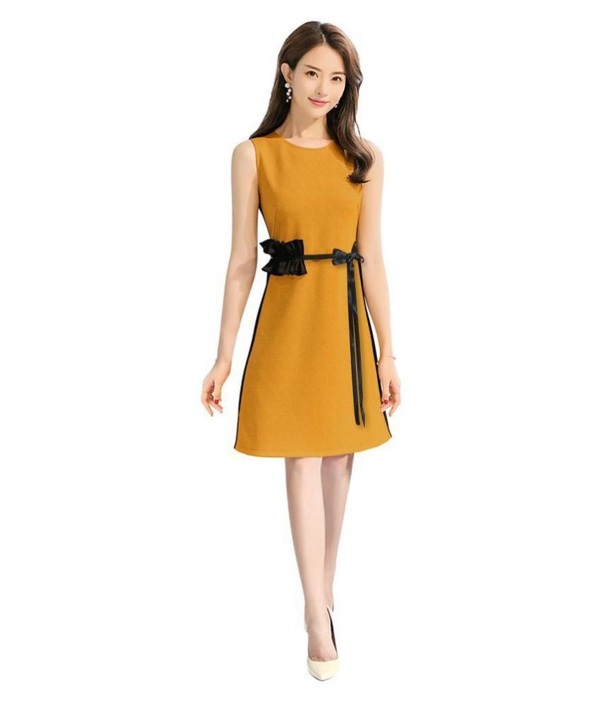 PURVAJA Hoisery Yellow Fit And Flare Dress