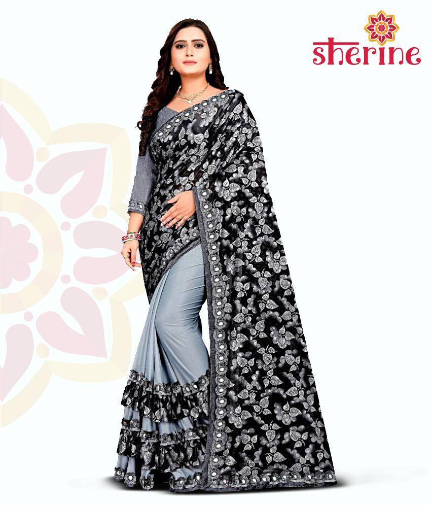 Sherine Printed, Embellished Fashion Lycra Blend Saree (Grey)