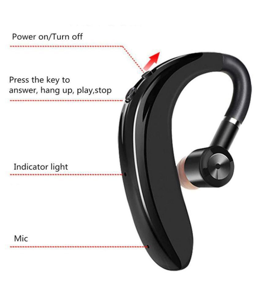 Ismart Wireless Bluetooth Headset with Mic - Black (Calling & Music)  for Single Ear
