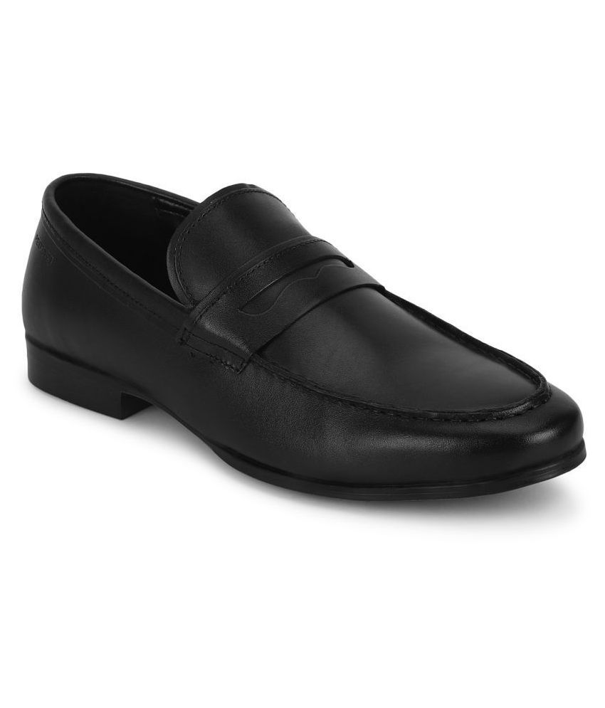 Red Tape Slip On Genuine Leather Black Formal Shoes
