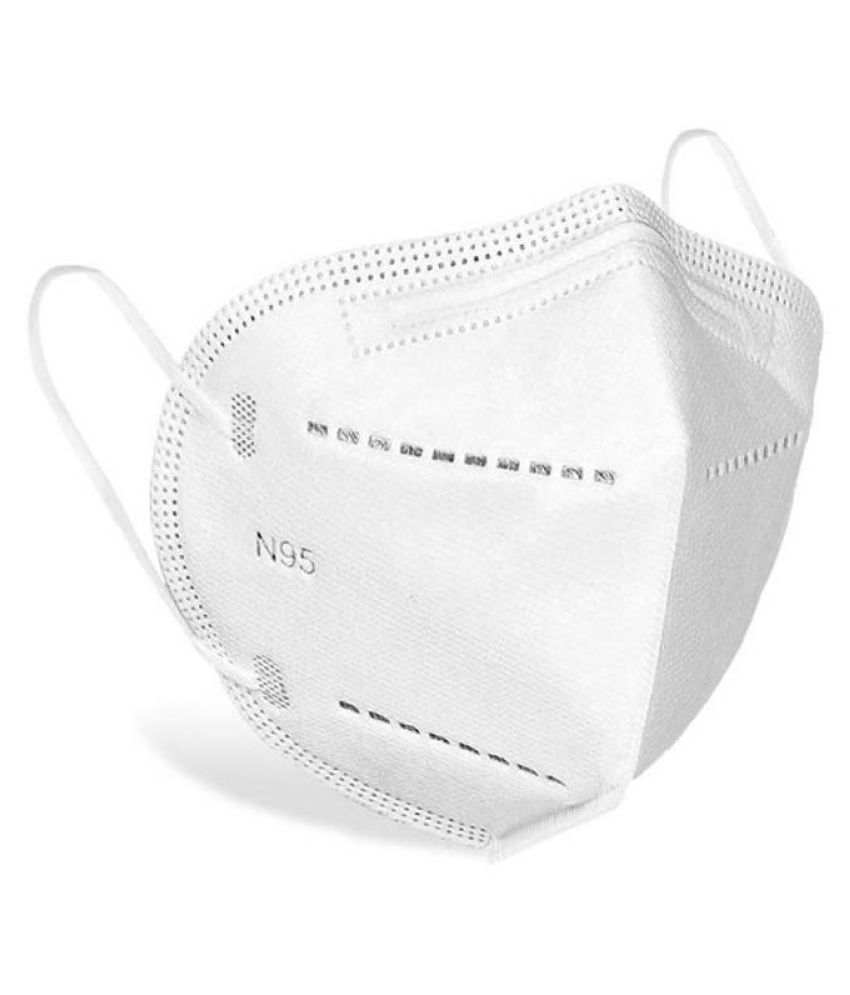 Certified N95 5 layered Washable Reusable outdoor protection Face Mask For Men & Women- White (Pack of 3)