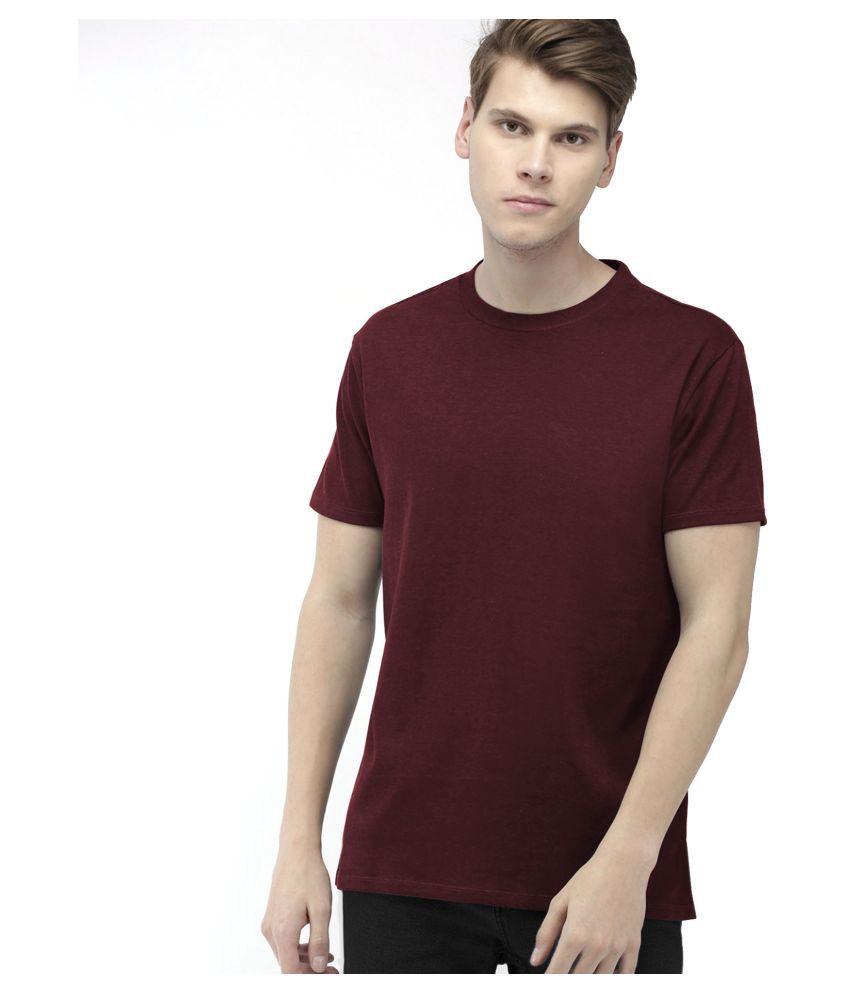 Aiden 100 Percent Cotton Maroon Solids T-Shirt