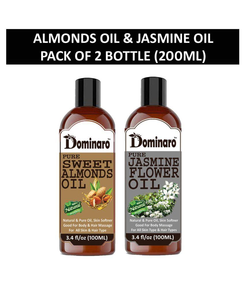Dominaro 100% Pure Sweet Almonds & Jasmine Oil 200 mL Pack of 2