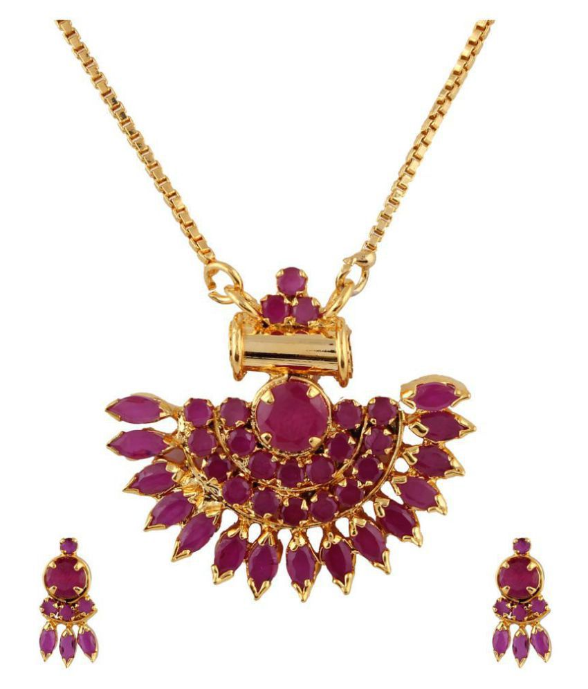 Parinaaz Cubiz Zirconia Purple Pendant Set