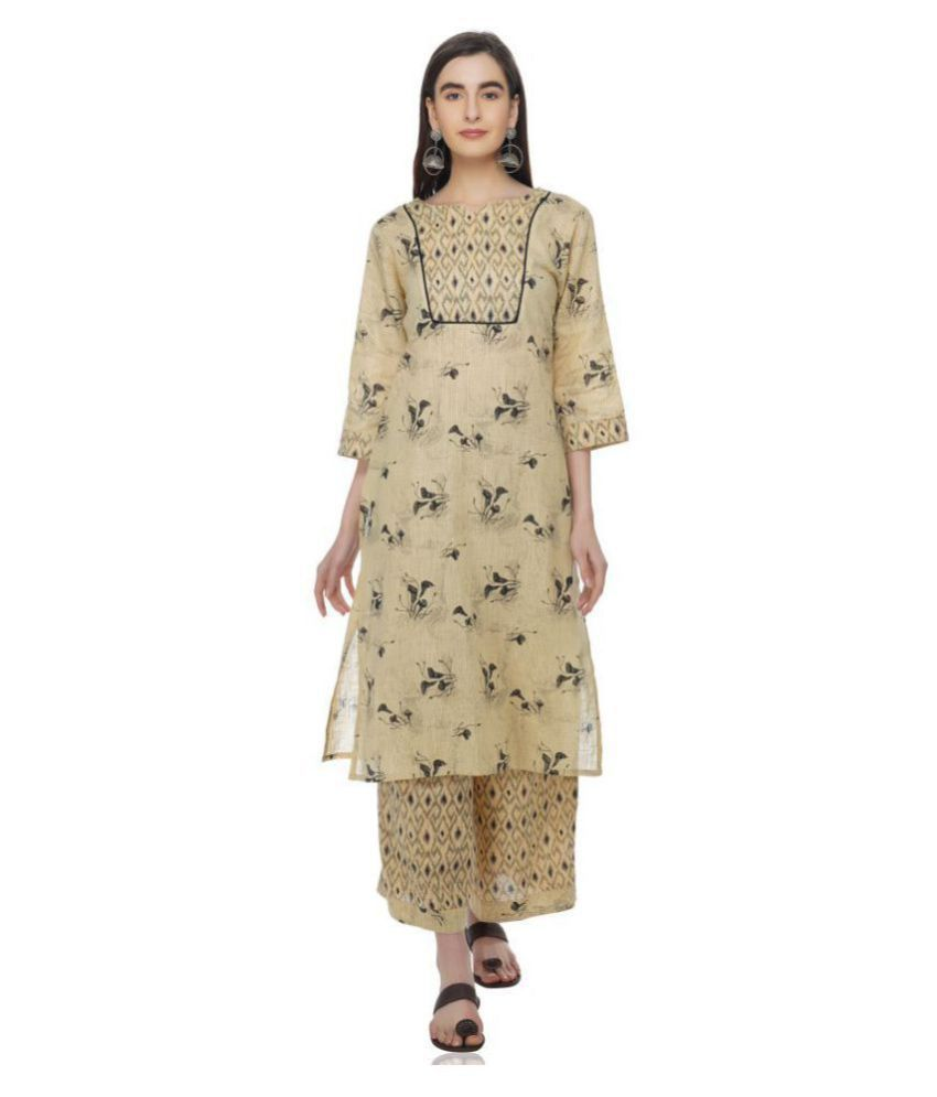 Meraki Vine Cotton Kurti With Palazzo - Stitched Suit