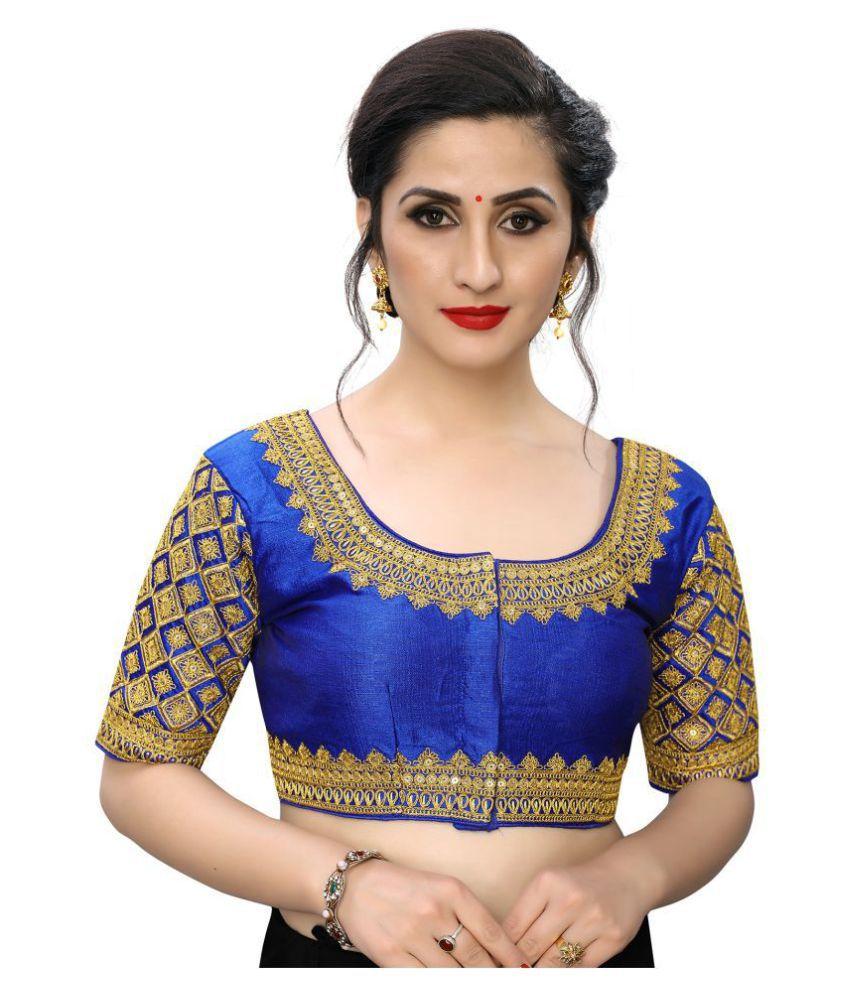 PRAFULBHAI KANTILAL RACHHADIYA (HUF) Blue Silk Readymade with Pad Blouse