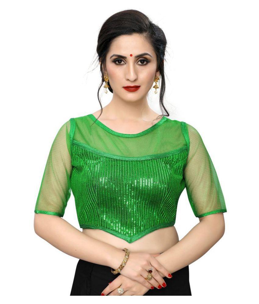 PRAFULBHAI KANTILAL RACHHADIYA (HUF) Green Georgette Readymade with Pad Blouse