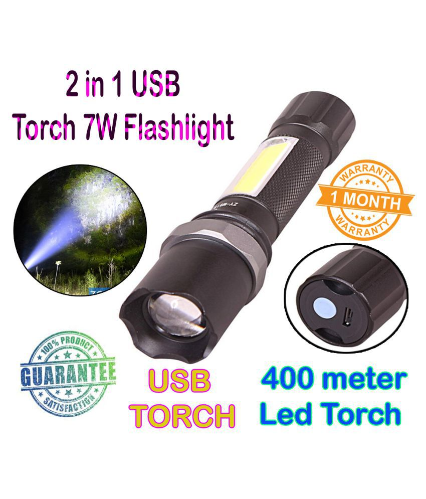 SM 10W Flashlight Torch Waterproof Zoomable - Pack of 1